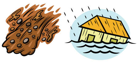 Flood and Landslide Natural Disasters Illustration