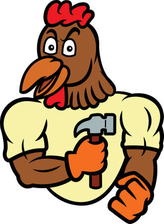 Rooster Handyman with Hammer Cartoon