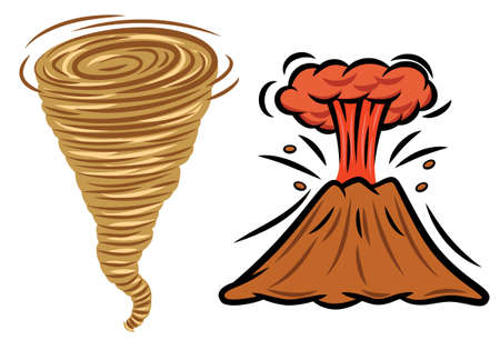natural disasters: Exploding Volcano and Tornado Natural Disasters Illustration