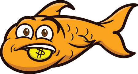 gold fish: Gold Fish with Gold Coin Cartoon Illustration