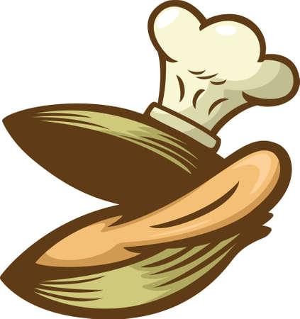 clam illustration: Clam Chef Cartoon