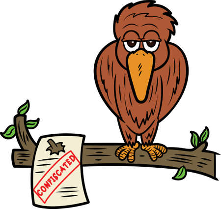 Homeless Bird on Confiscated Tree Cartoon Illustration