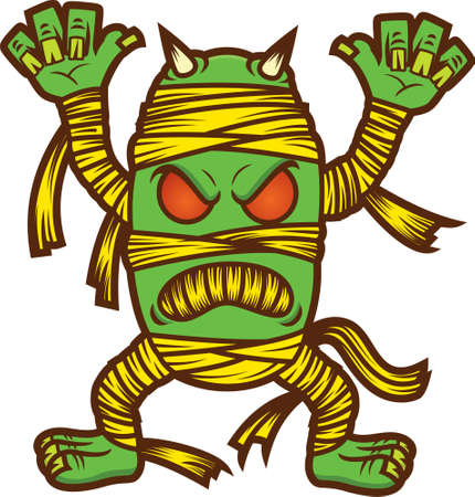 mummified: Monster Mummy Zombie Cartoon Illustration Isolated on White