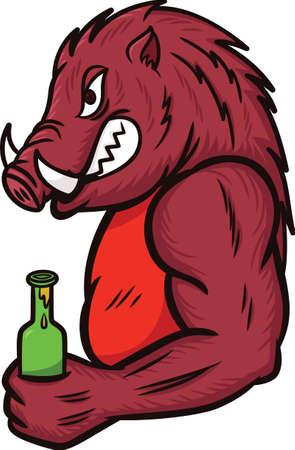 Jabalí con una botella de ilustración de la historieta de la bebida