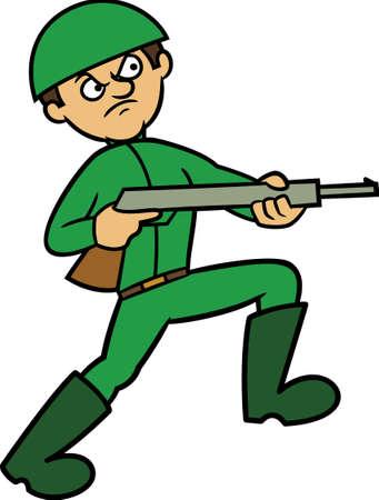 Army with Gun Cartoon