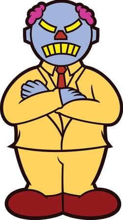 supervise: Businessman Boss Robot Crossed Arms Cartoon Illustration Isolated on White Illustration