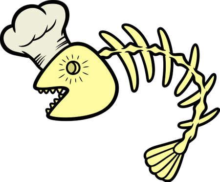 Fish Bone Chef Cartoon Illustration Isolated on White