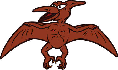 pterodactyl: Pterodactyl Cartoon Illustration Isolated on White