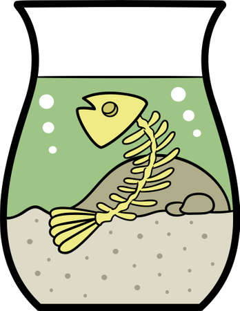 contaminated: Fish Bone in Fishbowl Cartoon Illustration Isolated on White