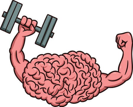 Strong Brain Lifting Dumbbells Cartoon Illustration