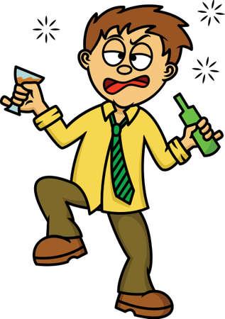 Ilustración de historieta de hombre borracho aislado en blanco