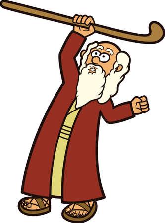 Moses The Prophet and His Staff Cartoon Illustration Reklamní fotografie - 68542249