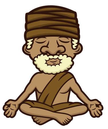 guru: Meditating guru sitting in lotus position, crossed legs and eyes closed cartoon illustration