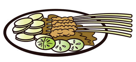carnes y verduras: Satay Served on a Plate Illustration Vectores