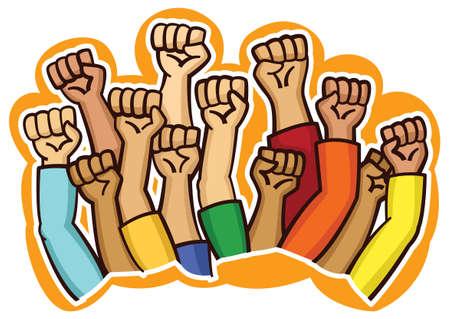 Protesters Hands Cartoon Illustration  イラスト・ベクター素材