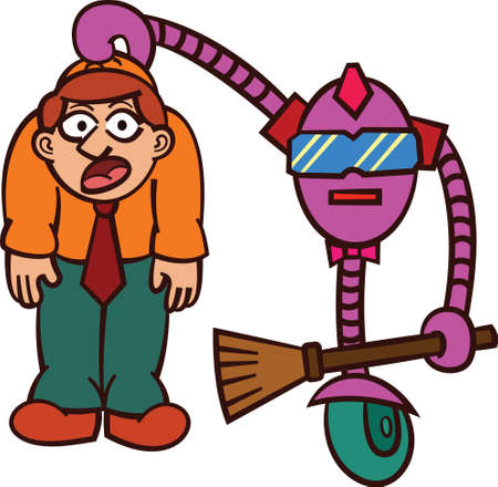 lift up: Robot Cleaning Up Dirty Worker Cartoon Illustration