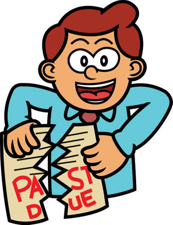 tearing: Man Tearing Past Due Paper Cartoon Illustration