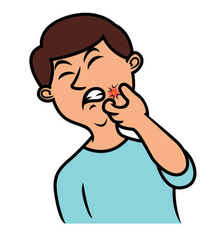 Boy Popping Acne Cartoon Illustration