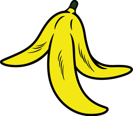 trash danger: Banana Peel Vector Illustration