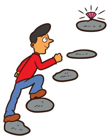 Hombre que camina en Steppingstone para alcanzar la ilustración de la historieta del diamante