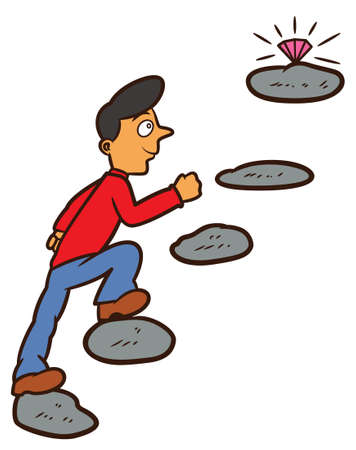 Mann, der auf Steppingstone geht, um Diamant-Karikatur-Illustration zu erreichen