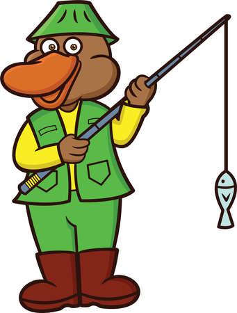 platypus: Platypus Fisherman Cartoon