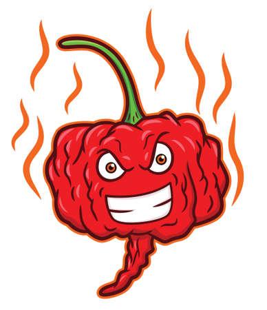 Carolina Reaper Hottest Chili Pepper Cartoon