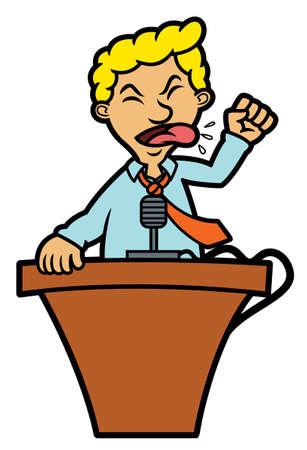 Man Giving Speech at Podium Cartoon Illustration