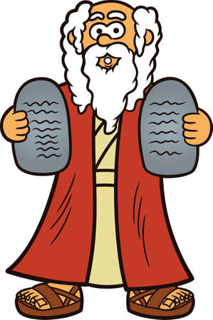 Moses with Two Stones of Ten Commandments Cartoon Illustration Vettoriali