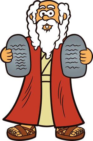 biblical: Moses with Two Stones of Ten Commandments Cartoon Illustration Illustration
