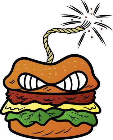 bomb: Burger Bomb Cartoon Illustration