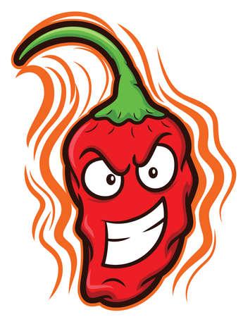 Ghost Chili Bhut Jolokia The Hottest Chili Pepper Cartoon 일러스트