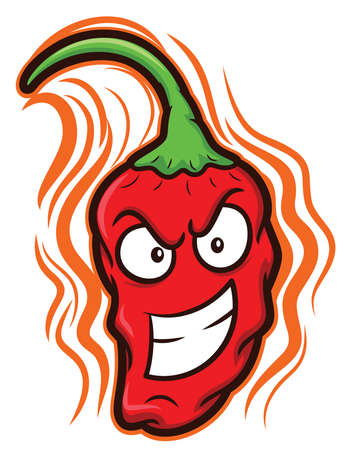 Ghost Chili Bhut Jolokia The Hottest Chili Pepper Cartoon Illustration