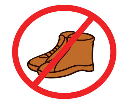 No Shoes or Boots Sign Illustration Isolated on White