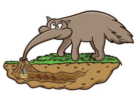 Anteater Looking for Ants Cartoon Illustration Vector Illustration