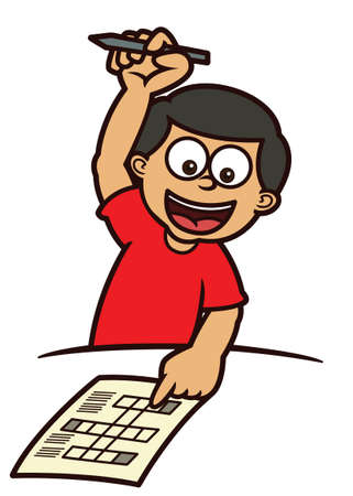 answering: Boy Answering Crossword Puzzle Cartoon Illustration