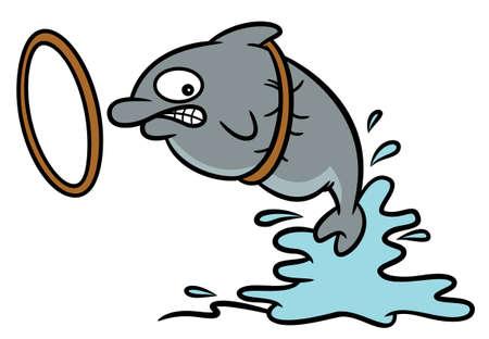 Fat Circus Dolphin Stuck on Hoop Cartoon Illustration Illustration