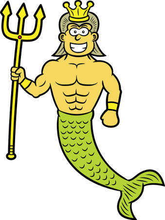 king neptune: King Neptune with Trident and Crown Cartoon