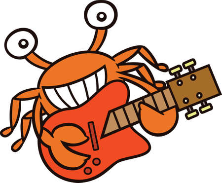 toothy smile: Crab Guitar Player Cartoon Character Isolated on White Illustration
