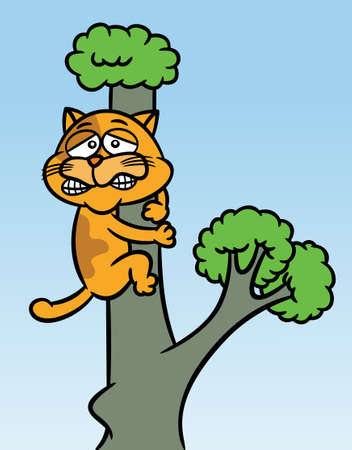 Cat Stuck up the Tree Cartoon Illustration Ilustração