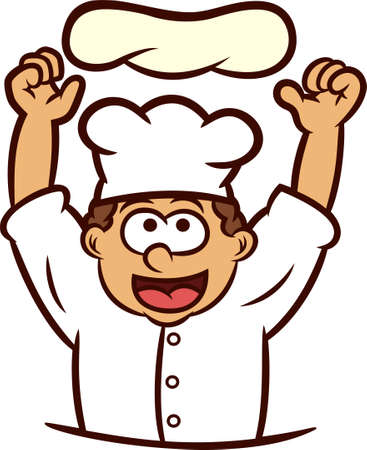 pizza chef: Pizza Chef Tossing Dough into the Air Cartoon Illustration