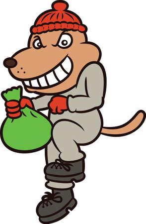 burglar: Dog Burglar Cartoon Character Isolated on White