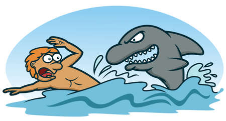 threatened: Scared Man Avoiding Shark Attack Cartoon Illustration Illustration