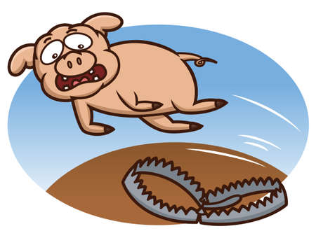threatened: Pig Avoiding Trap Cartoon Illustration