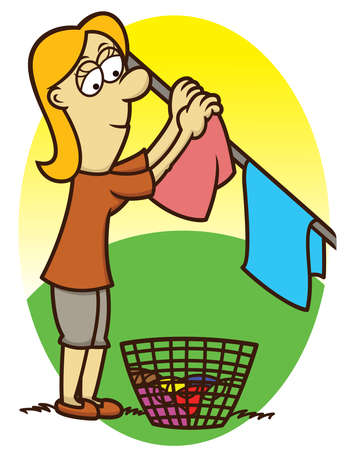 Woman Drying Clothes on Clothesline Cartoon Illustration