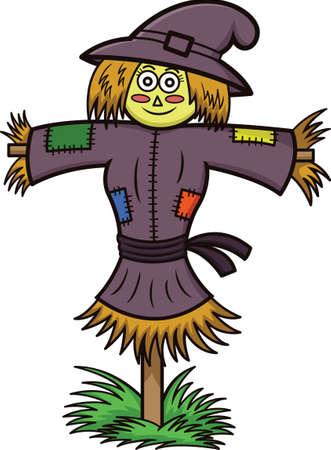 Witch Scarecrow Cartoon Illustration