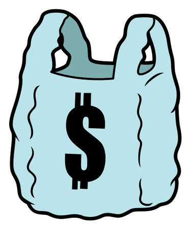 plastic bag: Pay For Plastic Bag Illustration