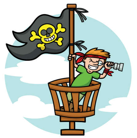 crows: Pirate Kid in the Crows Nest Looking Through Binoculars Cartoon Illustration