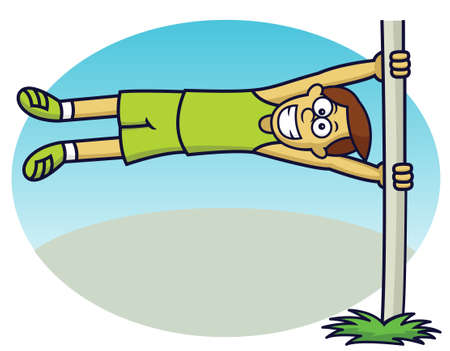 Man Doing Flag Pole Exercise Cartoon Illustration