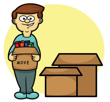 moving box: Man Carrying Box Moving House Theme Cartoon Illustration